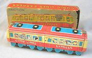 Vintage Tin Friction Toy Train -- Comic Lines Express -- With Box