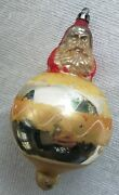 Antique Glass Poland Santa In A Ball Christmas Tree Ornament Old Double Sided