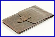 1940ies Croco Leather Pouch For 4 Fountain Pens / L139g - 149g Fits In