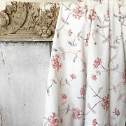 Floral Fabric Antique French Curtain Glazed 19th Century Make 18th C. Style