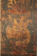 Antique Painted Leather Panel Painting Screen 18th Or 17th Century Wall Hanging