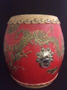 Chinese Lacquer Painted Wood Double Headed Drum Brass Dragons 11 Tanggu Barrel
