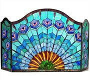 48 W Regal Blue Plumes Style Stained Glass 3 Pc Fireplace Screen Decor