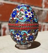40g Antique Sterling Silver 2 Cloisonné Enamel Egg Trinket Jewelry Box + Stand