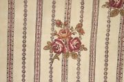 Fabric Antique French Block Printed 18th Century Floral And Stripe Alsace Textile