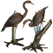 Design Toscano Standing And Fishing Herons In Reeds Bronze Statues Set Of Two