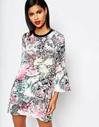 French Connection Womens Mineral Pool Stamp Retro Print Dress Light Rrp £95.00