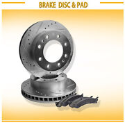 2pcs Front Left+right Drilled Slotted Vented Disc Brake Rotors Fit Chevy/gmc