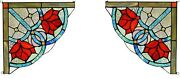 Set Of 2 8 X 8 Victorian Rose Style Stained Glass Corner Window Decor