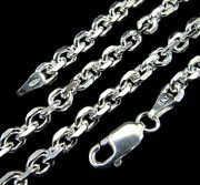 4mm Solid 925 Sterling Silver Italian Anchor Link Cable Chain Made In Italy
