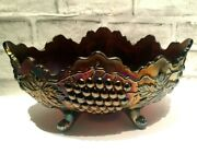 Antique Northwood Grape And Cable Carnival Glass 3 Footed Fruit Bowl In Purple
