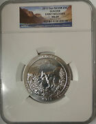 Sterling Silver Coin 5oz-25andcent 2011 Glacier Montana Early Releases Ms69 -ngc