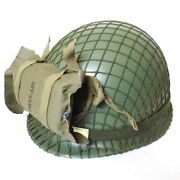 Wwii Ww2 Us Air Paratrooper Helmet With First Aid Pouch Camouflage Netting