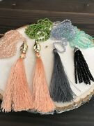 Lot Of 4 Mala Necklaces Long Gold Buddah Accent And Silky Tassel.