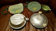 Vintage Girl Scout Camping Mess Kit Canteen Cups Pot Pan With Carrying Pouch 50s
