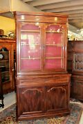 French Antique Louis Philippe Walnut Bookcase / Cabinet