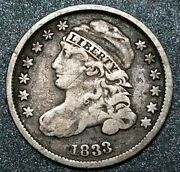 1833 Usa Capped Bust Dime Last 3 High 10c Ten Cent Early Dime Silver Coin Vf ++