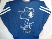 Vintage Cliff Engle Snoopy 1958 United Feature Syndicate Sweater Sz Large Golfer