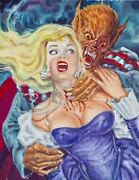 Original Pulp Horror Illustration Mexican Cover Art Girl Woman Pinup Painting