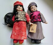 2 Vintage Porcelain Dolls 11 Inch Asian Boy And Girl Victoria's Collectables