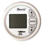 New In Box Marine Faria Digital Depth Sounder With Dual Temperature White Gauge