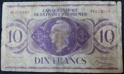 1944   France Overseas Territories 10 Franc And039rareand039 Bank Note   Km Coins