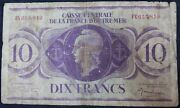 1944   France Overseas Territories 10 Franc 'rare' Bank Note   Km Coins