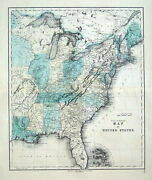United States Of America, Gall And Inglis Original Antique Hand Coloured Map C1850