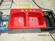 Kohler Cast Iron Double Bowl Drop In Kitchen Sink 4 Holes Red Can Ship