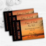 Palm Tree Sunset Abroad Personalised Wedding Bar Free Drink Tokens