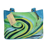 Swank Bags Hand-made And Painted Abstract Swirl Leather Tote Sb066-10