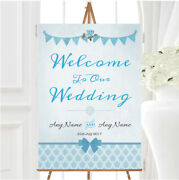 Vintage Rustic Style Bunting Powder Baby Blue Personalised Welcome Wedding Sign