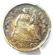 1854-o Seated Liberty Half Dime H10c - Certified Pcgs Uncirculated Unc Ms