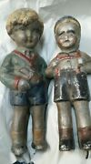 Antique Toy, Extremely Rare 19th Century German Painted Metal Figures, 2 Boys