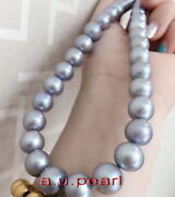 Big Aaa 1713-15mm Round Natural Real South Sea Gray Pearl Necklace 14k Gold