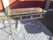 Vintage Giacometti-style Patinated Hand-wrought Iron And Glass Console Table