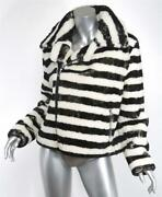 Each X Other Womens Off-white Black Striped Shearling Jacket Coat M New 3000