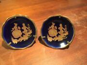 Miniature Cobalt Blue And Gold Limoges Courting Pair Of Plates With Stands 1980s