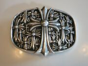 Authentic Chrome Hearts Large Cemetery Cross Belt Buckle .925 Sterling Silver