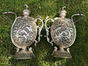 Very Rare Pair Antique Indian Silver Wine Jugs Or Chuskis. Rajasthan. 964 Gms.