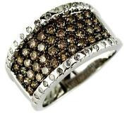 Wide 1.44ct White And Chocolate Fancy Diamond 14kt White Gold 3d Anniversary Ring