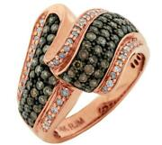 Wide 1.0ct White And Chocolate Fancy Diamond 14kt Rose Gold Criss Cross Fun Ring