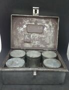 Antique Tin Traveling Spice Box With 5 Containers