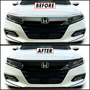 Chrome Delete Blackout Overlay For 2018-21 Honda Accord Front Grille Trim