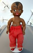 Vintage 1961 Reliable Canada Rubber Black Aa Boy Squeaky Toy Doll Squeak 12