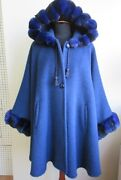 Womenand039s Brand New Blue Alpaca Wool And Real Chinchilla Fur Wrap Cape Hood Ladies