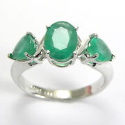 14k Solid White Gold Three-stone Emerald Ring 2.40ct R425