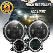 For Jeep Wrangler Jk Jku 7inch Led Headlights Hi/lo Beam Drl + 4 Fog Lights