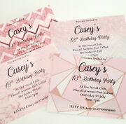Girls Personalised Glitter Birthday Party Invitation Rose Gold Sparkle 18th 13th