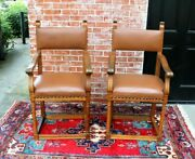 French Antique Renaissance Oak Leather Upholstered Pair Of Armchair